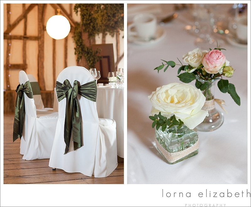 7 Winters Barns Wedding Photos dark green chair sashes